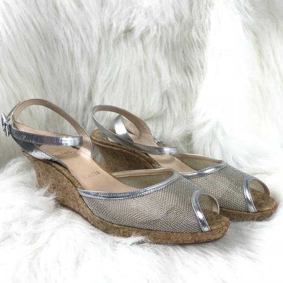 acheter populaire 0d5e9 98905 Christian Louboutin metallic silver modele wedge.